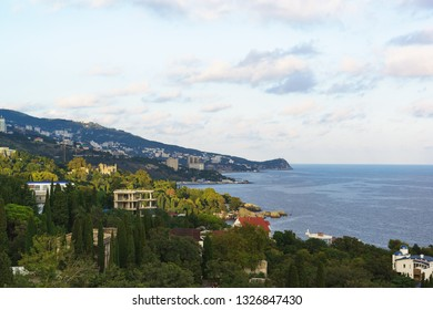 Landscape view from the observation deck to the resort village of Alupka in the Crimea. Yalta