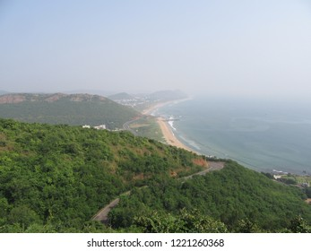 A landscape view of ocean with the hill station from Vizag India. What a great beauty.