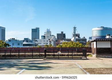 Landscape view of Okayama city view from  Okayama castle.