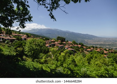 Landscape view to old village at Olympus Mountain. Old bildings with similiar roofs. Greece