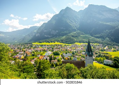Landscape view on Balzers village with saint Nicholas church in Liechtenstein