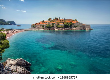 Landscape view on Budva st. Nikola island in Montenegro