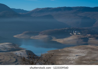 landscape view on lake in winter