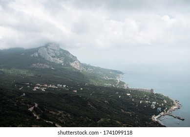 Landscape view on mountains, green valley and sea