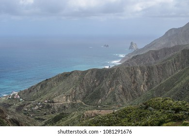Landscape view on the rocky coastline near Taganana vilage, Tenerife, Canary Islands