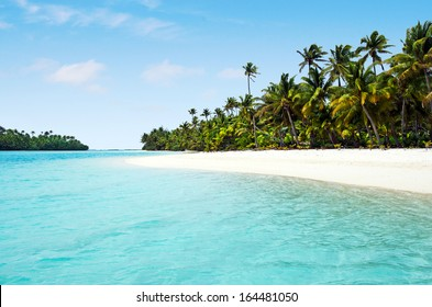 Landscape view of one foot Island in Aitutaki Lagoon Cook Islands.No people. Copy space
