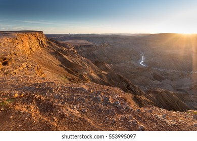 Landscape view over the Fish River Canyon from the viewpoint close to Hobas at sunset, Namibia