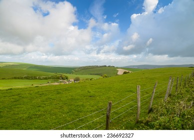 Landscape view over hills in country side