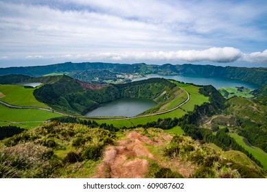 Landscape view over Lake of Seven Cities, Azores, Portugal
