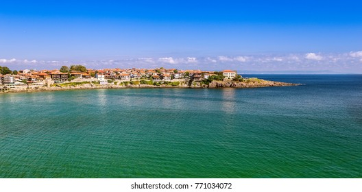 Landscape with the view of the part of old Sozopol town surrounded by the sea. Bulgaria, the Black Sea coast.