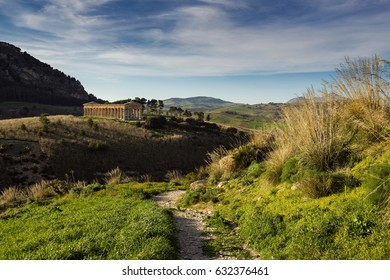 Landscape view from a path leading to the Doric Temple at the ancient Elymian city of Segesta in Sicily.