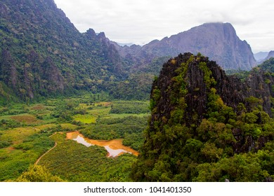 Landscape view point from Pha Ngeun view point at Vang Vieng, Laos