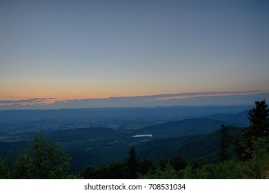 Landscape view from view point of Shenandoah National Park after sunset , Virginia.