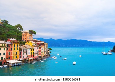 Landscape view of Portofino famous small town at Italy.