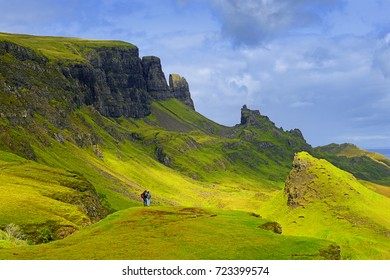 Landscape view of Quiraing mountains on Isle of Skye, Scottish highlands, Scotland, United Kingdom