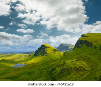 Landscape view of Quiraing mountains on Isle of Skye, Scottish highlands, Scotland, United Kingdom
