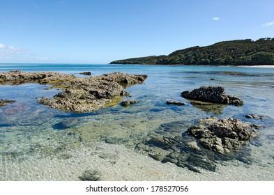 Landscape view of Rangiputa beach in Karikari Peninsula Northland,New Zealand.It's a famous holiday travel destination in NZ.
