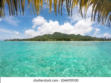 Landscape view of Rarotonga Island and Muri Lagoon in Rarotonga, Cook Islands.
