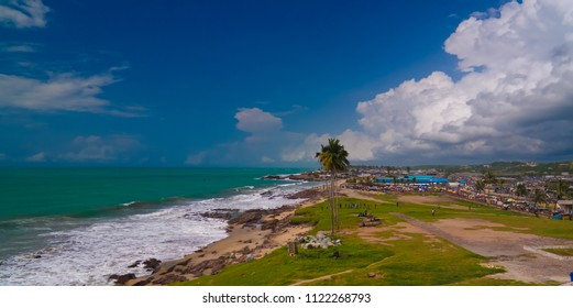 Landscape view from the roof of Elmina castle and fortress in Ghana