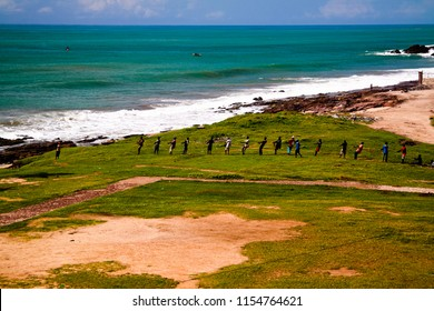 Landscape view from the roof of Elmina castle and fortress to workind fishermans in Ghana