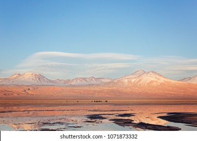 landscape view of salt lagoons, people silhouettes and andes mountains in los flamencos national reserve in atacama desert, chile at sunset