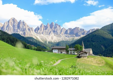 Landscape view of Santa maddalena in South Tyrol Dolomites Italy on summer time with blue sky and cloud