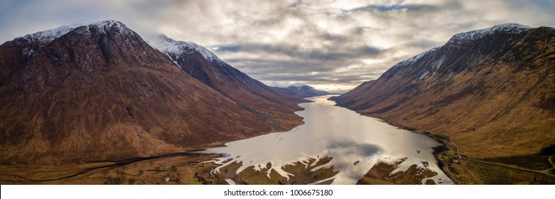 landscape view of scotland and loch etive from an aerial point of view with a drone