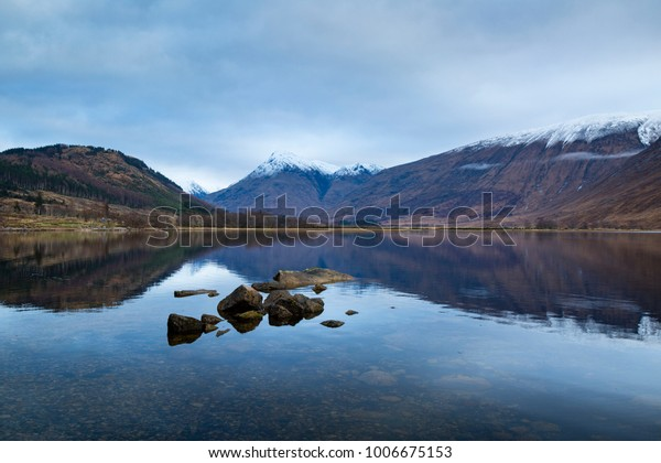 Landscape View Scotland Loch Etive Winter Stock Photo (Edit