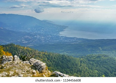 Landscape with view to sea coast from above. Stones and snags on edge of plateau Ai-Petri. Green forest on slope of Crimean mountains. Yalta city on Black Sea coast.