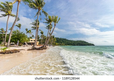 Landscape view of seashore on beautiful tropical sandy Bai Sao beach with palms on Phu Quoc island in Vietnam