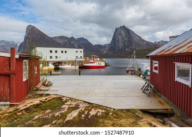 The landscape view of Senja Island by Rodsand beyond the Polar Circle in Norway