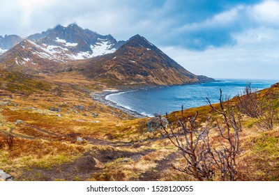 The landscape view of Senja Island near Mefjordvaer in Norway