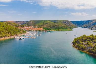 landscape view of skradin bay. summer time. sunny day