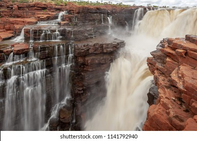 Landscape  view at slow shutter spreed at the top of one of the twin King George Falls in flood, Kimberley, Australia