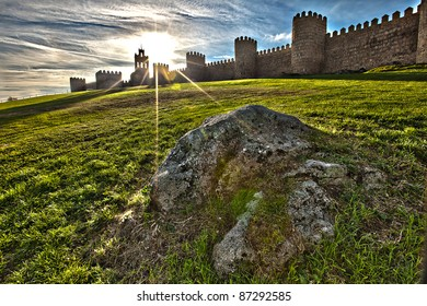 Landscape View of the Stone Wall in Avila, Spain
