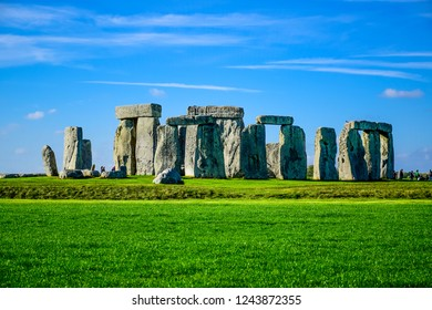 Landscape view of Stonehenge, a prehistoric stone monument in Salisbury, Wiltshire, England, United Kingdom