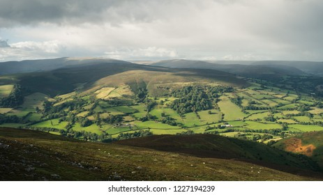 Landscape view from Sugarloaf hill towards Black Mountains near