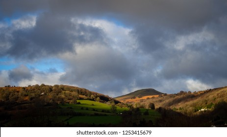 Landscape view Sugarloaf Mountain Sugarloaf hill towards Black Mountains in Abergavenny