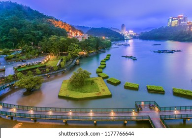 Landscape View of Sun Moon Lake and Xiangshang Bikeway (It's the Most Beautiful Bikeway in Taiwan) at Twilight, Sun Moon Lake( Sunmoonlake) , Nantou, Taiwan
