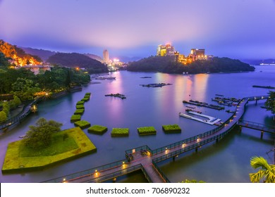 Landscape View of Sun Moon Lake and Xiangshang Bikeway (It's the Most Beautiful Bikeway in Taiwan at Twilight, Sun Moon Lake( Sunmoonlake) , Nantou, Taiwan