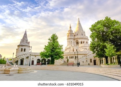 A landscape view of sunset at the fisherman' bastion park, Budapest, Hungary.