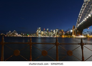 Landscape view of Sydney skyline at dusk in Sydney in New South Wales, Australia.
