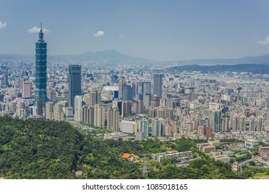Landscape View Of Taipei City with Colorful Sunset from The Top of Nangang Mountain, Taipei City, Taiwan