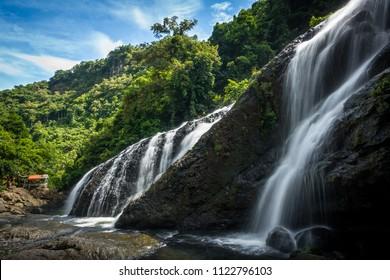 Landscape view of Tarangban Falls, with rustic bamboo hut - Calbayog, Samar - Philippines