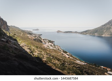 Landscape view of Telendos from the Grande Grotta cave in Kalymnos, Greece.