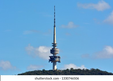 Landscape view of Telstra Tower Black Mountain Australia capital city of Canberra