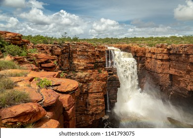 Landscape  view at the top of one of the twin King George Falls in flood, Kimberley, Australia