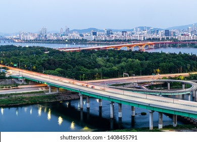 A landscape view and the trajectory of the vehicle before sunset around the bridge over the Han River, seoul, korea
