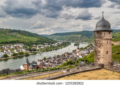 Landscape view of the two banks and the round tower above the vineyard village of Zel, the Moselle valley, Rhineland-Palatinate, Germany, Europe.Photo taken July 2018.