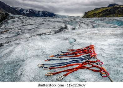 Landscape view of Vatnajokull glacier with detail of climbing ropes, Iceland, Europe